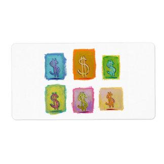 Economics money wealth abundance fun happy art shipping label