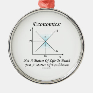 Economics Not Matter Of Life Or Death Equilibrium Round Metal Christmas Ornament