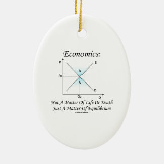 Economics Not Matter Of Life Or Death Equilibrium Double-Sided Oval Ceramic Christmas Ornament