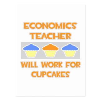 Economics Teacher ... Will Work For Cupcakes Postcard