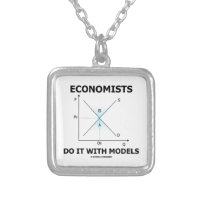Economists Do It With Models (Supply Demand Curve) Square Pendant Necklace