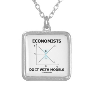 Economists Do It With Models (Supply Demand Curve) Square Pendant Necklace