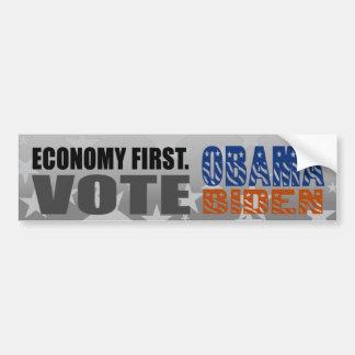 Economy First Vote Obama Biden Bumper Sticker