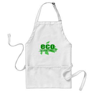 Ecopreneur con el guión de las hojas, de la rama y delantal