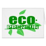 Ecopreneur con el guión de las hojas, de la rama y felicitación