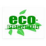 Ecopreneur con el guión de las hojas, de la rama y postal