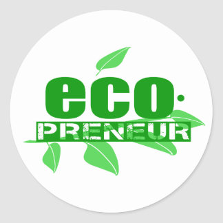 Ecopreneur With Leaves, Branch And Dot Hyphen Classic Round Sticker