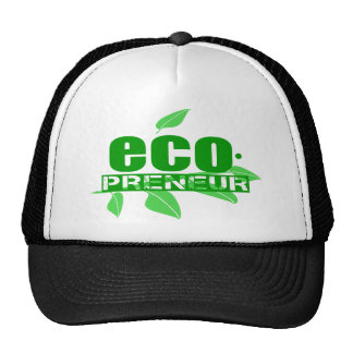 Ecopreneur With Leaves, Branch And Dot Hyphen Mesh Hats
