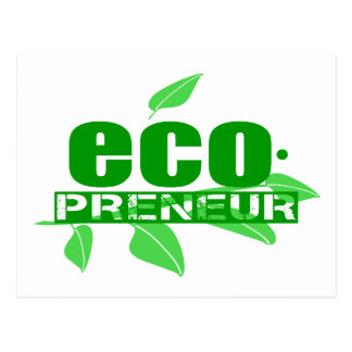 Ecopreneur With Leaves Branch And Dot Hyphen Postcards
