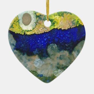 Ecos de un nuevo día adorno navideño de cerámica en forma de corazón