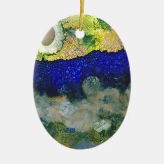 Ecos de un nuevo día adorno navideño ovalado de cerámica