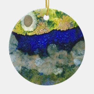 Ecos de un nuevo día adorno navideño redondo de cerámica