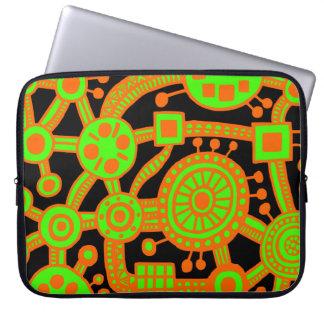 Ecosystem III Orange and Green on Black Laptop Sleeve