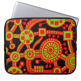 Ecosystem III Red and Green on Black Laptop Sleeve