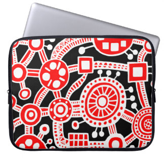 Ecosystem III Red and White on Black Laptop Sleeve