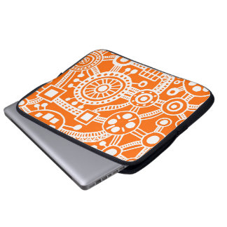 Ecosystem III White on Orange Laptop Sleeve