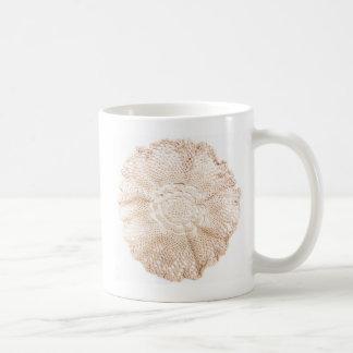 Ecru Beige Tan Old-fashioned Vintage Doily Coffee Mug