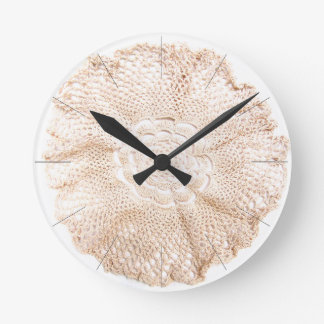 Ecru Beige Tan Old-fashioned Vintage Doily Round Clock