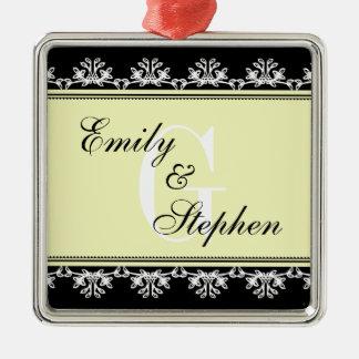 Ecru black filigree border wedding couple first metal ornament