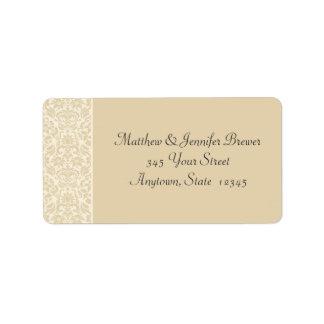 Ecru & Cream Damask Envelope Address Labels Custom Address Labels