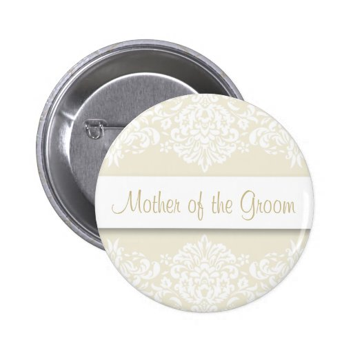 Ecru Damask Mother of the Groom Button