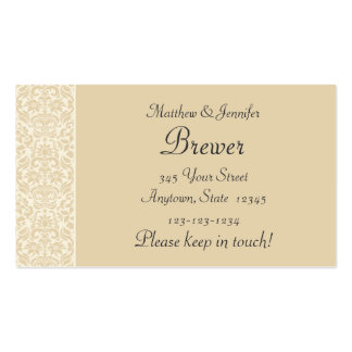 Ecru Damask Personalized Change of Address Cards Business Card Templates