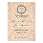 "Ecru Damask Silver Vintage Frame Monogram Wedding 5"" X 7"" Invitation Card"