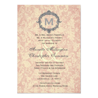 Ecru Damask Vintage Frame Monogram Wedding V1 Card