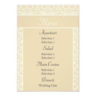 Ecru Damask Wedding Reception Dinner Menu Personalized Invite