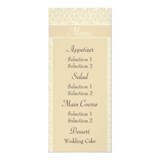 Ecru Damask Wedding Reception Dinner Menus Personalized Announcement