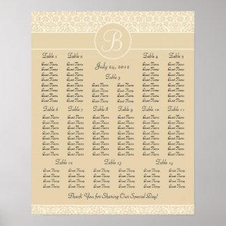 Ecru Damask Wedding Reception Seating Chart Poster