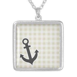 Ecru Gingham; Checkered; Anchor Necklace