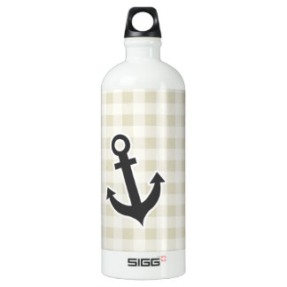 Ecru Gingham; Checkered; Anchor Water Bottle