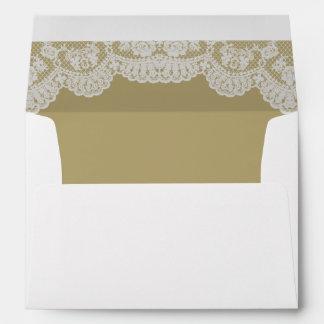 Ecru Gold White Lace Wedding Envelope