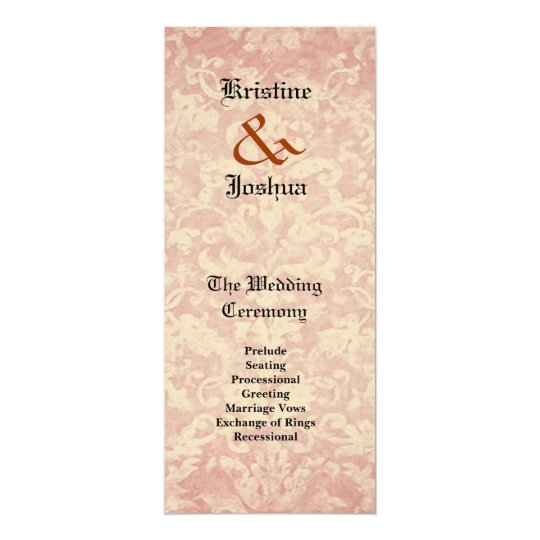 Ecru Grunge Damask Wedding Program V02 Card