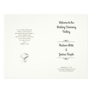 Ecru Hearts Folded Wedding Program Template