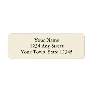 Ecru o etiquetas impresas crema del remite etiqueta de remite