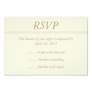 "Ecru or Cream RSVP, Reply or Response Card 3.5"" X 5"" Invitation Card"