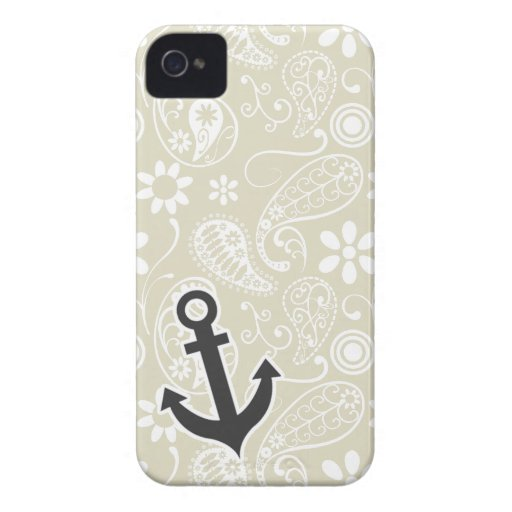 Ecru Paisley; Floral; Anchor iPhone 4 Covers