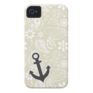 Ecru Paisley; Floral; Anchor iPhone 4 Case-Mate Case