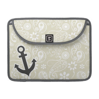 Ecru Paisley; Floral; Anchor Sleeves For MacBooks