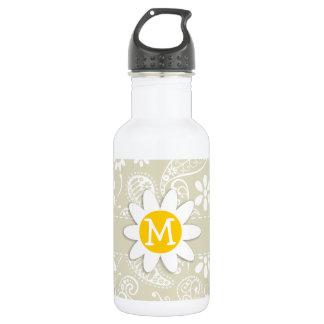 Ecru Paisley; Floral; Daisy 18oz Water Bottle