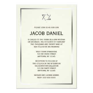 Ecru Silver Star of David Bar Mitzvah Invitations