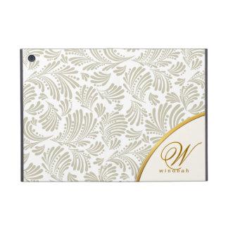 Ecru White Gold Monogram iPad Folio Cover For iPad Mini