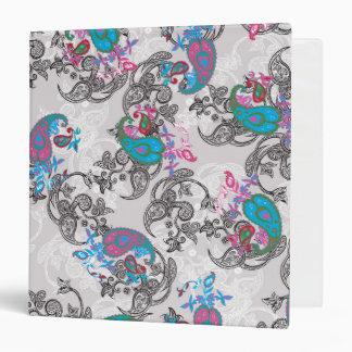 Ecru white traditional paisley floral pattern binder