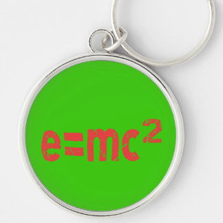 ecuación de energía de la física llavero redondo plateado