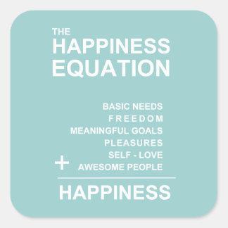 Ecuación de la felicidad calcomania cuadradas personalizadas