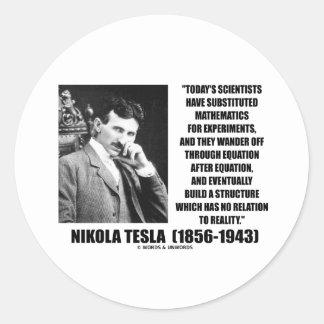 Ecuación de los científicos de Nikola Tesla Pegatina Redonda