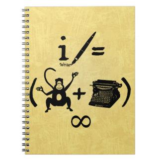 Ecuación divertida de la máquina de escribir del libreta espiral