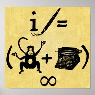 Ecuación divertida de la máquina de escribir del m posters